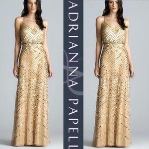 Adrianna Papell Long Gold Chevron crisscross Dress
